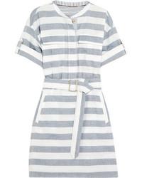 Vestido camisa de rayas horizontales azul de Burberry