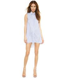 Vestido camisa de rayas verticales azul