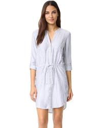 Vestido camisa de rayas verticales celeste