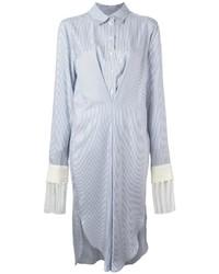 Vestido camisa de rayas verticales celeste de Loewe