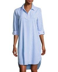 Vestido camisa de rayas verticales en blanco y azul