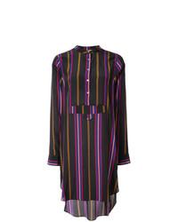 Vestido camisa de rayas verticales negra de Figue