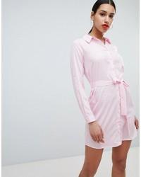Vestido camisa de rayas verticales rosada de AX Paris