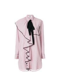 Vestido camisa de rayas verticales rosada de MSGM