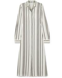 Vestido camisa de seda de rayas verticales blanca de Jil Sander