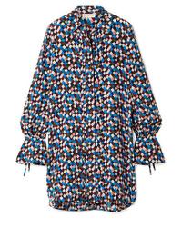 Vestido camisa de seda estampada azul marino de Tory Burch