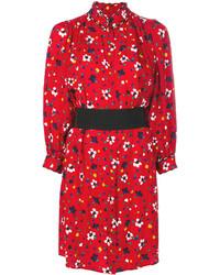 Vestido camisa de seda estampada roja de Marc Jacobs