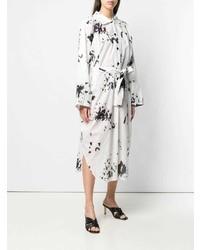 Vestido camisa efecto teñido anudado en blanco y negro de Lemaire