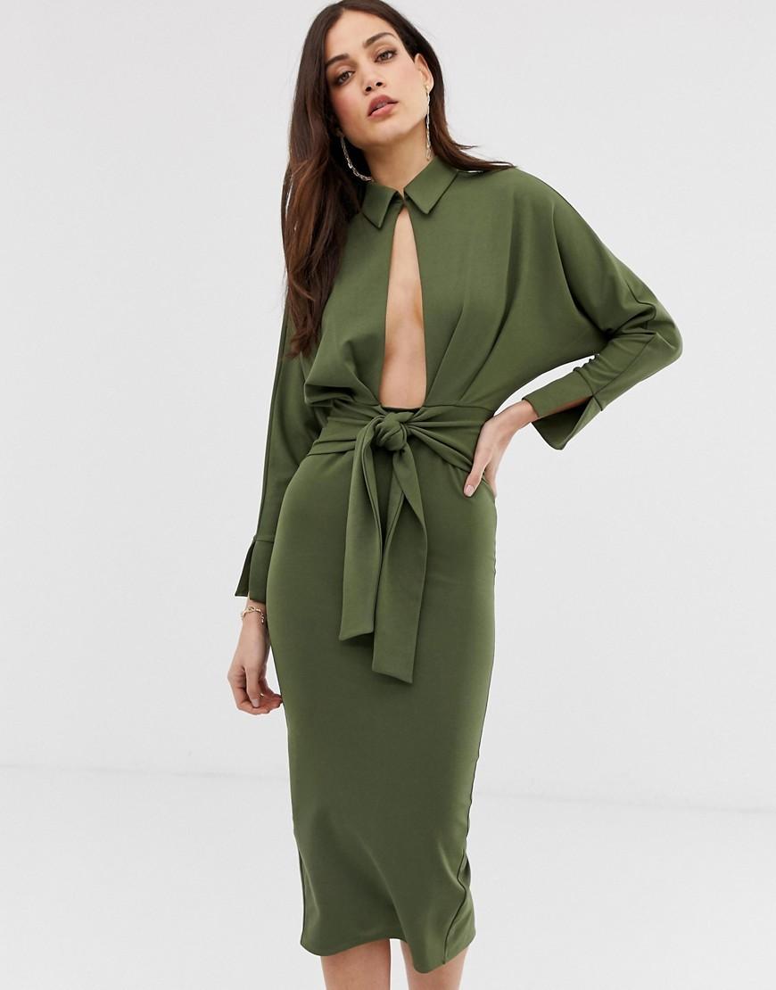Vestido camisa verde oliva de ASOS DESIGN
