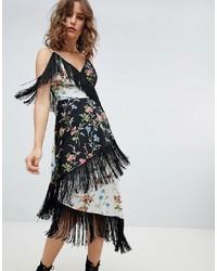Vestido camisola con print de flores negro de ASOS DESIGN