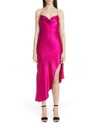 Vestido camisola de satén rosa