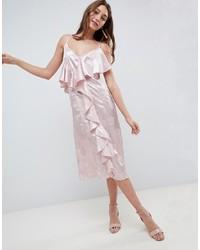 Vestido camisola de satén rosado de ASOS DESIGN