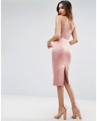 Vestido camisola de satén rosado de Asos