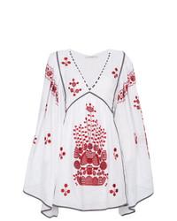 Vestido campesino bordado en blanco y rojo de Vita Kin