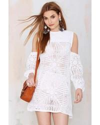 Vestido Campesino de Crochet Blanco de Nasty Gal