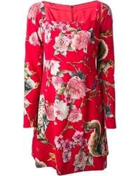 Vestido casual con print de flores rojo