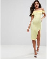 Vestido con hombros al descubierto amarillo de Asos