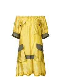 Vestido con hombros al descubierto amarillo de Sacai
