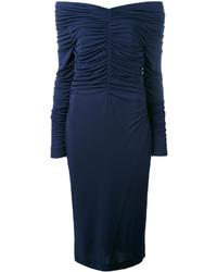 Vestido con hombros al descubierto azul marino de Salvatore Ferragamo