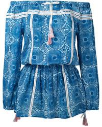 Vestido con hombros al descubierto azul de Lemlem