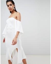 Vestido con hombros al descubierto blanco de ASOS DESIGN
