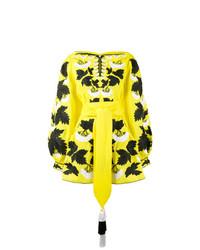 Vestido con hombros al descubierto bordado amarillo de Yuliya Magdych