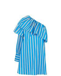 Vestido con hombros al descubierto de rayas verticales azul de MSGM