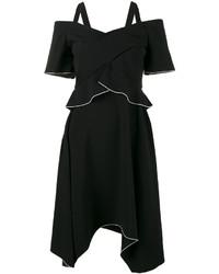 Vestido con hombros al descubierto de seda negro de Proenza Schouler