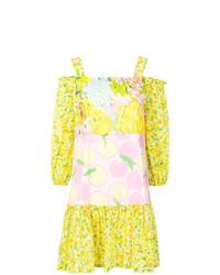 Vestido con hombros al descubierto estampado amarillo de Boutique Moschino