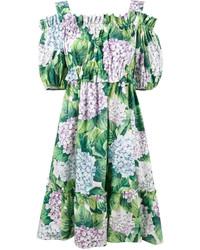 Vestido con hombros al descubierto estampado verde de Dolce & Gabbana