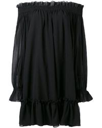 Vestido con hombros al descubierto negro de Alexander McQueen