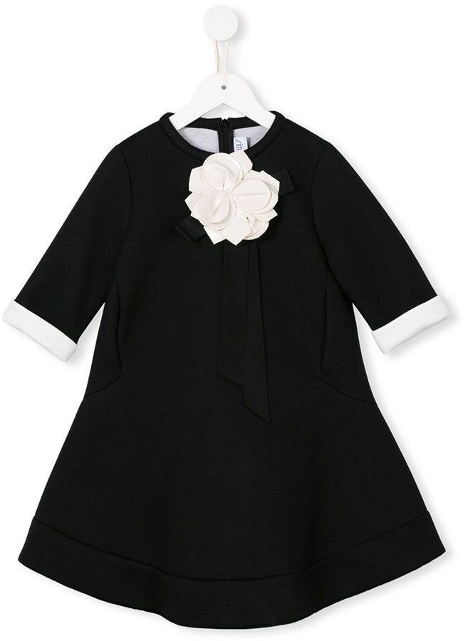 Vestido con print de flores negro de Simonetta