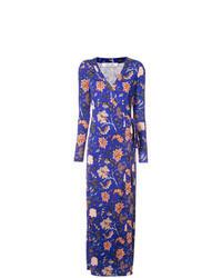 Vestido cruzado con print de flores azul