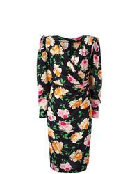 Vestido cruzado con print de flores negro de Emanuel Ungaro Vintage