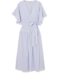 Vestido cruzado de algodón celeste