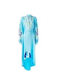 Vestido cruzado de lino en turquesa de Yuliya Magdych