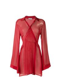 Vestido cruzado de malla rojo de Amir Slama
