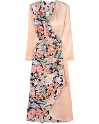 Vestido cruzado de satén con print de flores rosado de RIXO