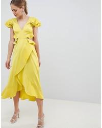 Vestido cruzado de satén con volante amarillo de ASOS DESIGN