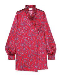 Vestido cruzado de seda con print de flores rojo de Seren