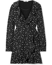 Vestido cruzado de seda estampado negro de Miu Miu