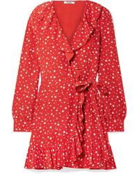 Vestido cruzado de seda estampado rojo de Miu Miu