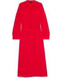 Vestido cruzado de seda rojo de Joseph