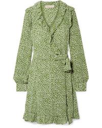 Vestido cruzado de seda verde oliva
