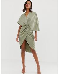 Vestido cruzado en verde menta de ASOS DESIGN