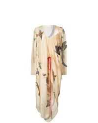 Vestido cruzado estampado marrón claro de Vionnet