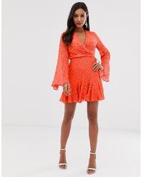 Vestido cruzado naranja de ASOS DESIGN