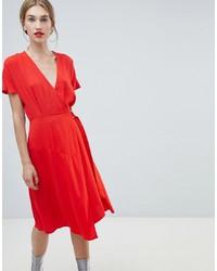 Vestido cruzado rojo de Warehouse