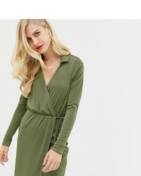 Vestido cruzado verde oliva de ASOS DESIGN