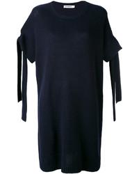 Vestido de cachemir azul marino de Jil Sander